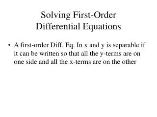 Solving First-Order  Differential Equations