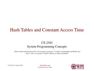 Hash Tables and Constant Access Time