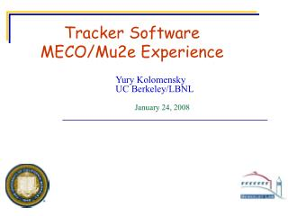 Tracker Software MECO/Mu2e Experience