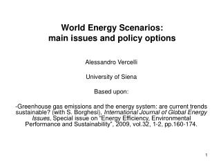 World Energy Scenarios:  main issues and policy options