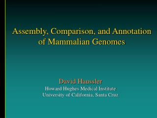 Assembly, Comparison, and Annotation of Mammalian Genomes