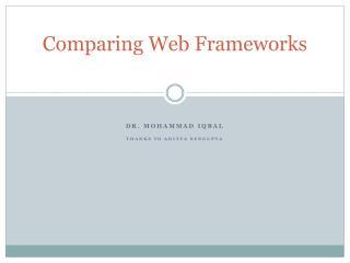 Comparing Web Frameworks