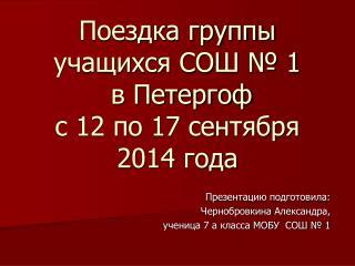 Поездка группы учащихся СОШ № 1  в Петергоф  с 12 по 17 сентября 2014 года