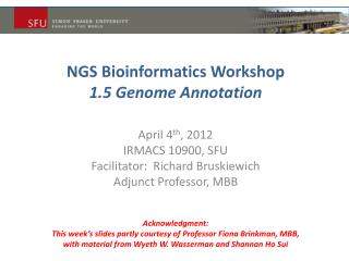 NGS Bioinformatics  Workshop 1.5 Genome Annotation