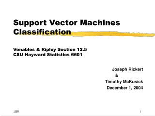 Support Vector Machines Classification Venables & Ripley Section 12.5 CSU Hayward Statistics 6601