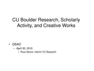 CU Boulder Research, Scholarly Activity, and Creative Works