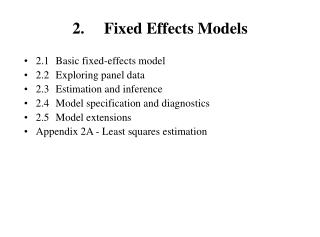 2. 	Fixed Effects Models