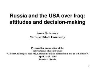 Participation of the USA and Russia in resolution of Iraqi crisis during the period of 2002-2003