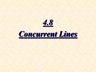 4.8 Concurrent Lines