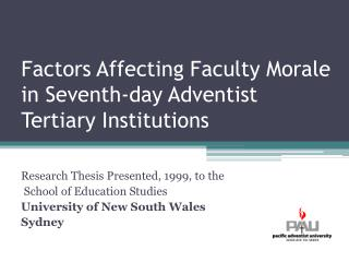 Factors Affecting Faculty Morale in Seventh-day Adventist Tertiary Institutions