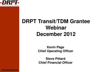 DRPT Transit/TDM Grantee Webinar December 2012