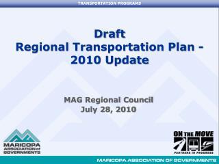 Draft  Regional Transportation Plan - 2010 Update
