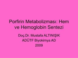 Porfirin Metabolizmasi: Hem ve Hemoglobin Sentezi