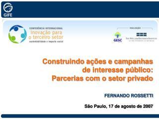 Construindo a��es e campanhas  de interesse p�blico: Parcerias com o setor privado