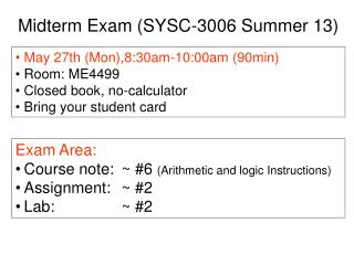 Midterm Exam (SYSC-3006 Summer 13)