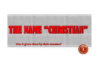 """The Name """"Christian"""""""