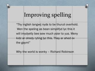 Improving spelling