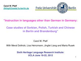 """""""Instruction in languages other than German in Germany:"""