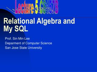 Relational Algebra and My SQL