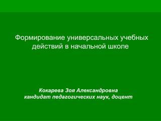 Кокарева Зоя Александровна кандидат педагогических наук, доцент