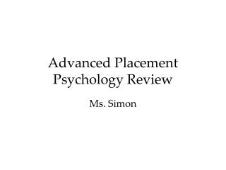 Advanced Placement Psychology Review