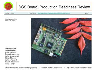 DCS Board  Production Readiness Review