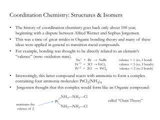 Coordination Chemistry: Structures  Isomers