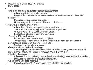 Assessment Case Study Checklist RDG 3320