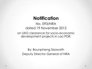 Notification No. 093/NRA dated 19 November  2012