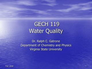 GECH 119 Water Quality