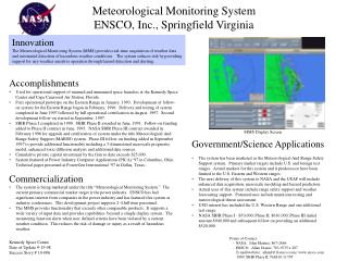Meteorological Monitoring System ENSCO, Inc., Springfield Virginia