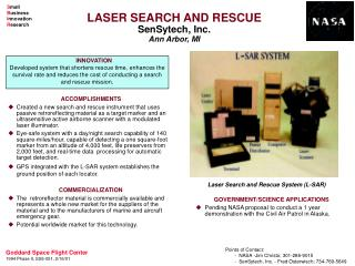 LASER SEARCH AND RESCUE SenSytech, Inc. Ann Arbor, MI