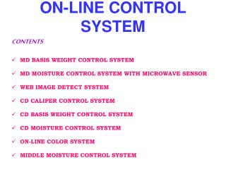 ON-LINE CONTROL SYSTEM