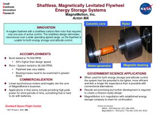 Shaftless, Magnetically Levitated Flywheel Energy Storage Systems MagneMotion, Inc. Acton MA