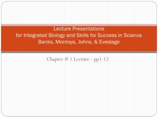 Chapter #  1 Lecture - p p1-12