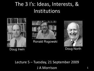The 3 I s: Ideas, Interests,  Institutions