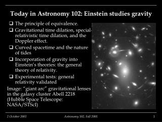Today in Astronomy 102: Einstein studies gravity