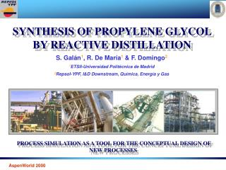 SYNTHESIS OF PROPYLENE GLYCOL BY REACTIVE DISTILLATION