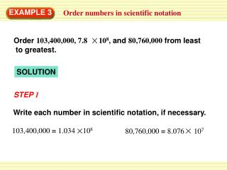 Order numbers in scientific notation