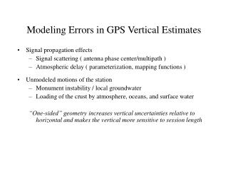 Modeling Errors in GPS Vertical Estimates