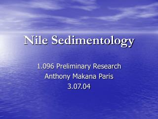 Nile Sedimentology