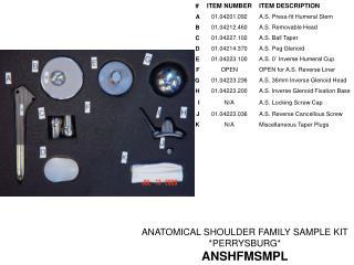 ANATOMICAL SHOULDER FAMILY SAMPLE KIT  *PERRYSBURG* ANSHFMSMPL
