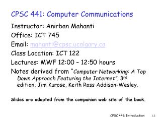 CPSC 441: Computer Communications