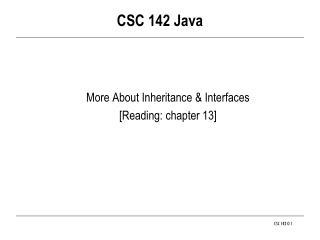 CSC 142 Java