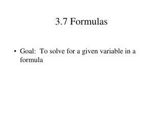3.7 Formulas
