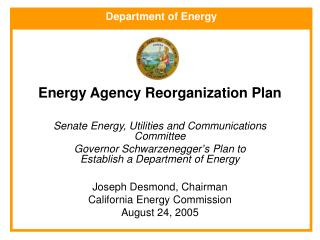 Energy Agency Reorganization Plan
