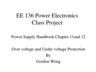 EE 136 Power Electronics Class Project