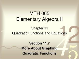 MTH 065 Elementary Algebra II