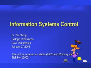 Information Systems Control