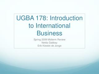 UGBA 178: Introduction to International Business
